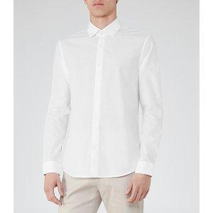 Kilburn White Slub Cotton Shirt - REISS