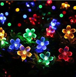 Qedertek Cherry Blossom Solar String Lights, 23ft 50 LED Waterproof Outdoor Decoration Lighting