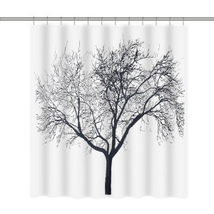 Homitex Shower Curtain Mildew-Free Water-Repellent Fabric Shower Curtain Liner