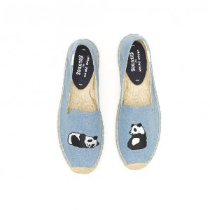 Soludos Jason Polan Denim Panda Embroidered Smoking Slipper in Denim - Soludos Espadrilles