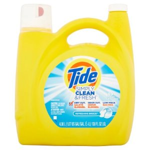 $9.42Tide Simply Clean & Fresh HE Liquid Laundry Detergent, Refreshing Breeze Scent, 89 loads, 138 oz