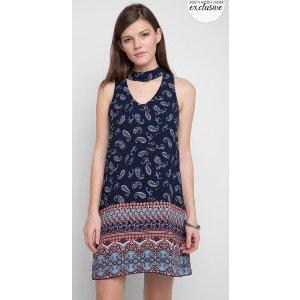 Abbeline Keyhole Paisley Print Swing Dress