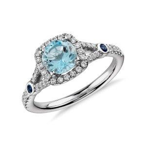 Aquamarine and Diamond Split Shank Halo Ring in 14k White Gold (6mm)   Blue Nile