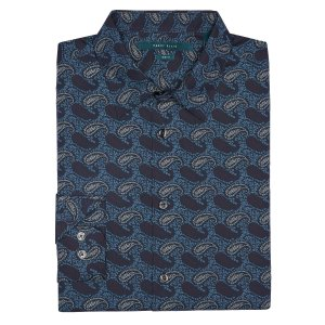 Slim Fit Etched Paisley Shirt | Perry Ellis