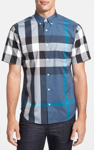 $184.25 Burberry Brit 'Fred' Trim Fit Short Sleeve Sport Shirt @ Nordstrom