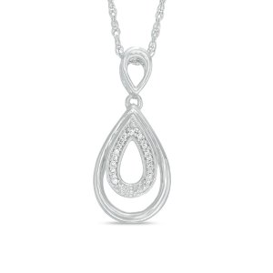 Diamond Accent Double Teardrop Pendant in Sterling Silver - Save on Select Styles - Zales