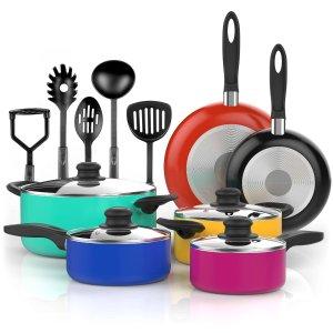 Vremi 15 Piece Nonstick Color Pop Cookware Set