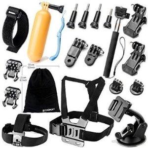Zookki Camera Accessory Kit for GoPro Hero 4/ 3+/ 3/ 2/ 1 (19 items)