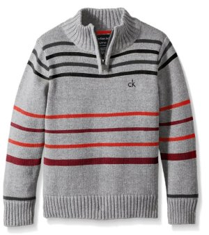 Calvin Klein Boys' Position Stripe Half Zip Sweater