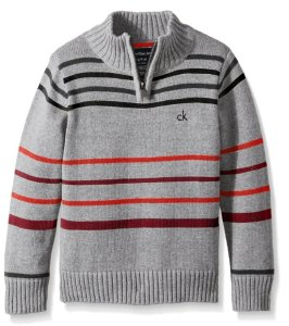 Calvin Klein Boys' Position Stripe Half Zip Sweater