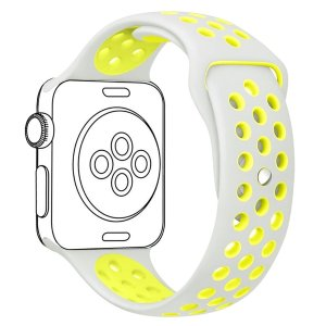 Amazon.com: OULUOQI 38mm Soft Silicone Replacement Band with Ventilation Holes for Apple Wacth Nike+, Series 2, Series 1, Sport, Edition,M/L Size ( Silver / Volt Yellow ): Cell Phones & Accessories