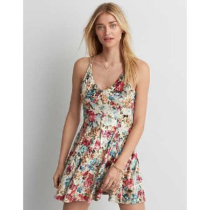 AEO Crushed Velvet Slip Dress, Multi | American Eagle Outfitters