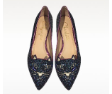 Charlotte Olympia Mid-Century Kitty Night Sky Blue and Amethyst Glitter Pointy Flat 37 (7 US | 4 UK | 37 EU) at FORZIERI
