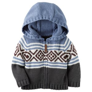Baby Boy Hooded Zip-Front Fair Isle Cardigan | Carters.com