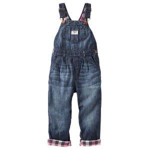 Baby Girl Flannel-Lined Denim Overalls - Geode Wash   OshKosh.com