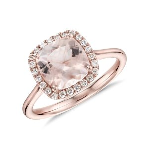 Morganite and Diamond Halo Cushion Ring in 14k Rose Gold (8x8mm) | Blue Nile