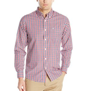 Dockers Men's Long-Sleeve Multicolored Gingham Button-Front Shirt