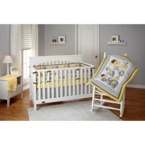 Little Bedding by NoJo Elephant Time 3-Piece Crib Bedding Set, Yellow with BONUS Bumper Pad