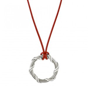 Signature Classic Circle Pendant in sterling silver and red leather