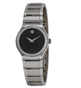 MOVADO Quadro Black Dial Diamond Bezel Ladies Watch