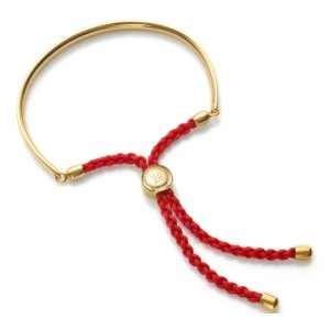 Gold Fiji Friendship Bracelet - Coral Red for Luck