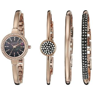 $73.98 Anne Klein Women's AK/2240RGST Swarovski Crystal-Accented Rose Gold-Tone Bangle Watch and Bracelet Set