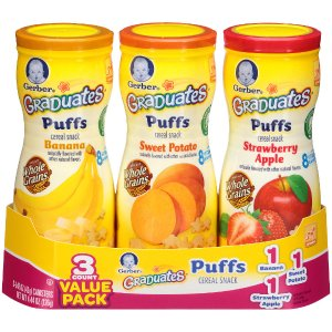 Gerber Graduates Puffs Cereal Snack Naturally Flavored with Other Natural Flavors Variety Pack 1.48 Ounce - 3 Count - Gerber Foods - Babies