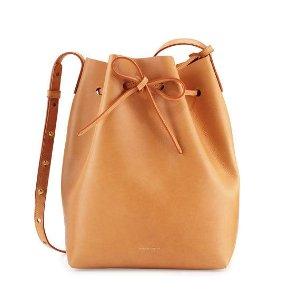 Mansur Gavriel Vegetable-Tanned Leather Bucket Bag, Gold