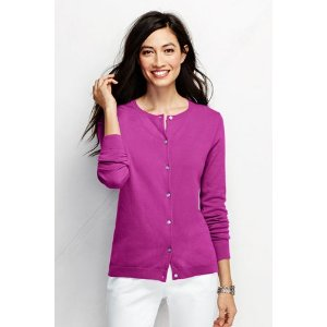 Women's Performance Fine Gauge Button Front Crew Cardigan from Lands' End