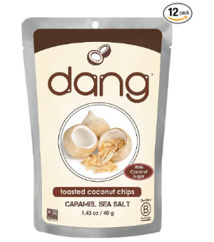 $13.67 Dang Gluten Free Toasted Coconut Chips, Caramel Sea Salt, 1.43 Ounce Bags (Pack of 12)
