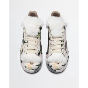 Printed leather and fur sneakers
