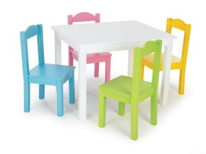 Tot Tutors Kids' Table and 4 Chair Set, Pastel Wood
