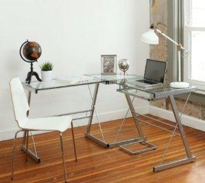 $68.84Walker Edison 3-Piece Contemporary Glass and Steel Desk, Silver