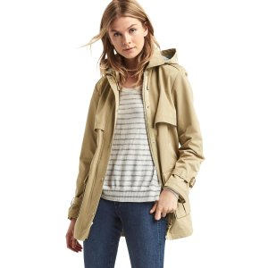 Water-resistant short hooded trench | Gap