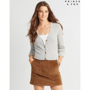 Prince & Fox Ribbed Crop Button Front Cardigan