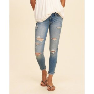 Girls Hollister Low-Rise Crop Super Skinny Jeans | Girls Bottoms | HollisterCo.com