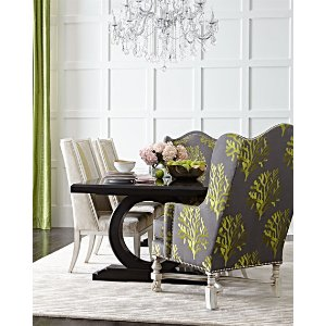 Massoud Xenia Hostess Chair, Ellis Dining Chair, & Alden Trestle Dining Table