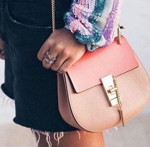 Chloé  Pink Leather & Suede Mini Drew Saddle Bag  @ SSENSE
