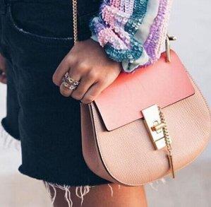 Chloé  Pink Leather & Suede Mini Drew Saddle Bag  @ SSENSE