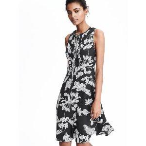Tie-Neck Floral Dress
