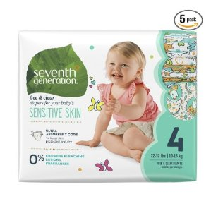 Prime Members Only! 35% + Extra 20% OffSeventh Generation Baby Diapers, Free and Clear for Sensitive Skin, with Animal Prints @ Amazon.com