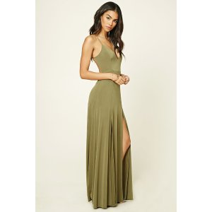 M-Slit Halter Maxi Dress | Forever 21 - 2000216738