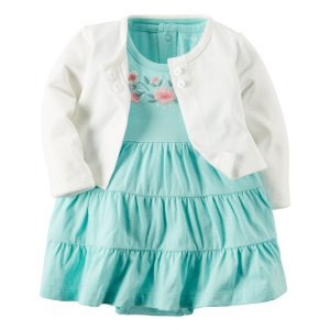 Baby Girl 2-Piece Bodysuit Dress & Cardigan Set | Carters.com