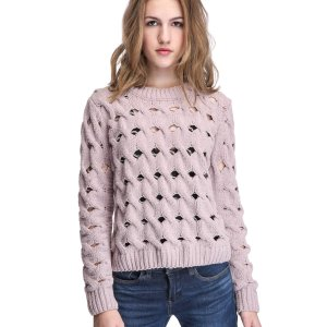 En Crème Perforated Crop Sweater   South Moon Under