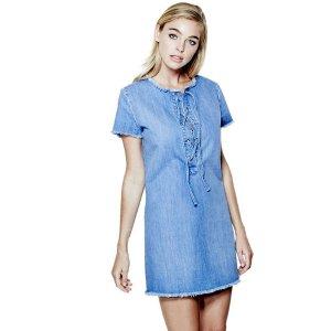 Shalay Lace-Up Denim Dress