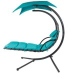 $159.99 Hanging Chaise Lounger Chair Arc Stand Air Porch Swing Hammock Chair Canopy Teal