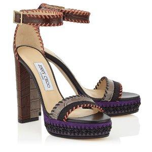 Black, Dusk and Pecan Textured Leather Mix Platform Sandals