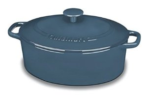 Cuisinart CI755-30BG Chef's Classic Enameled Cast Iron 5-1/2-Quart Oval Covered Casserole, Provencal Blue