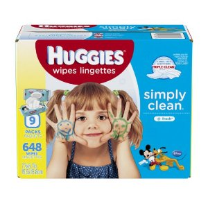 $10.64 HUGGIES Simply Clean Baby Wipes, Fresh Scent, Soft Pack , 648 Ct