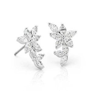 Monique Lhuillier Etoile Marquise Diamond Ear Climbers in 18k White Gold (1.5 ct. tw.) | Blue Nile